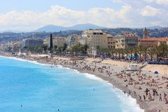 Praia em agradável, Cote d'Azur, França Foto de Stock Royalty Free