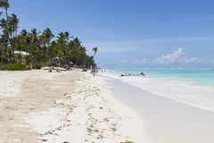 Praia em Bavaro, República Dominicana imagem de stock