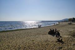 A praia em Gdynia Orlowo na baía do mar Báltico no Polônia, Europa Imagens de Stock