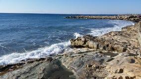 Praia em Limassol Amathounta Fotos de Stock Royalty Free