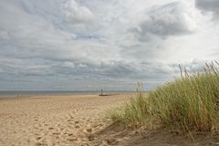 Praia em Lincolnshire, Reino Unido Imagem de Stock