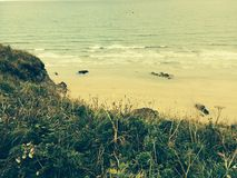 Praia em Newquay Cornualha fotografia de stock royalty free
