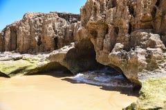 A praia em Ponta a Dinamarca Calheta, Porto Santo Island, Madeira, Portuga imagem de stock
