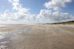 Praia em Rømø, mar de Wadden fotografia de stock