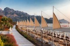 Praia em Turquia sem um resto imagens de stock