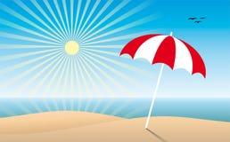 Praia ensolarada ilustração royalty free