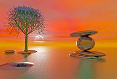 Praia equilibrada da fantasia das pedras Imagens de Stock