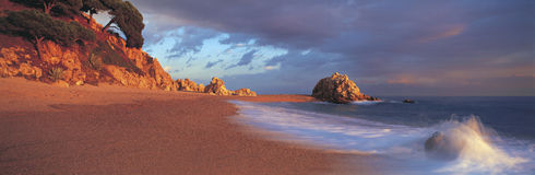 Praia espanhola panorâmico Foto de Stock