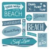 A praia etiqueta a coleção Fotografia de Stock