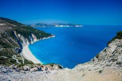 Praia exótica de Myrtos, Kefalonia, Grécia Foto de Stock Royalty Free