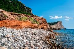 Praia experimental em DES Falco do tampão em Ibiza Imagem de Stock