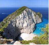 Praia famosa de Navagio, Zakynthos, Greece Imagens de Stock