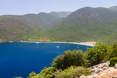 Praia famosa na ilha de Kefalonia, Grécia Imagem de Stock Royalty Free