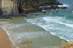Praia gör Carvalhal, en avskild strand in i den naturliga Costa Vicentina parkerar, Portugal Arkivfoto