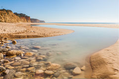 Praia gör Porto de Mós, Lagos, Algarve arkivbild