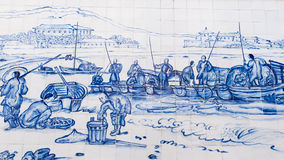 Praia Grande with Fisherman and S. Francisco Church was drew on ceramic wall by George Chinnery in 1837 Stock Image