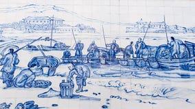 Praia groß mit Fischer und S Francisco Church war zeichnete auf keramische Wand durch George Chinnery im Jahre 1837 Stockbild