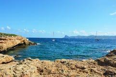 Praia Ibiza, Cala Bassa, Espanha Imagens de Stock