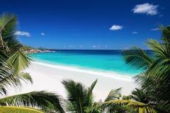 Praia idílico em Seychelles fotos de stock royalty free