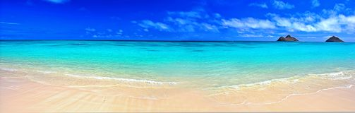 Praia ideal do panorama Fotografia de Stock