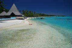 Praia ideal. Moorea, Polinésia francesa Fotos de Stock Royalty Free