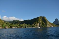 Praia ideal natural das cara?bas St Lucia fotografia de stock