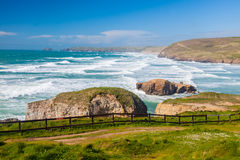 Praia Inglaterra Reino Unido de Perranporth foto de stock