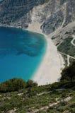 Praia Kefalonia Grécia de Myrtos Fotos de Stock