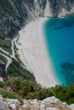 Praia Kefalonia Grécia de Myrtos Fotografia de Stock