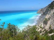 Praia Lefkada de Egremnoi, Greece Imagens de Stock Royalty Free