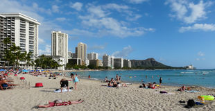 Praia legendária de Waikiki Fotografia de Stock Royalty Free