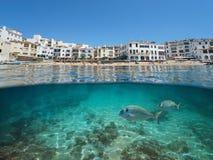 Praia litoral da vila da Espanha com peixes debaixo d'água fotos de stock royalty free