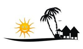 Praia Logo Design Template ilustração stock