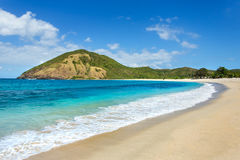 Praia longa da areia de Kuta, Lombok fotos de stock royalty free