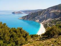 A praia a mais bonita da ilha grega de Kefalonia imagens de stock
