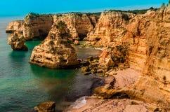 Praia Marinha. Coast Algarve, Portugal Stock Photos
