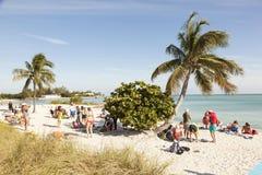 Praia na chave da maratona, Florida do sombreiro Imagem de Stock