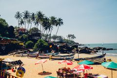 Praia na praia de Palolem, Goa Imagem de Stock Royalty Free