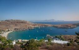 Praia na ilha do Rodes Imagens de Stock Royalty Free