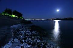 Praia na noite Foto de Stock Royalty Free