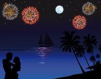 Praia na noite ilustração royalty free