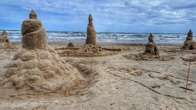 Praia nebulosa foto de stock