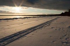 Praia nevado do inverno Fotos de Stock