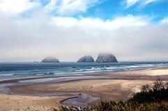 Praia nevoenta fotos de stock
