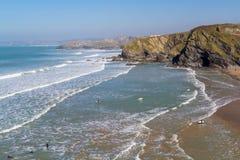 Praia Newquay Cornualha de Tolcarne Fotografia de Stock