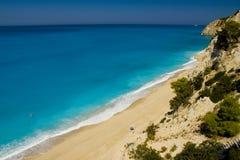 Praia no console de Lefkada Foto de Stock