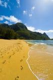 Praia no parque de Haena, Kauai, Kawaii Imagem de Stock