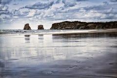 Praia no Pays Basque, França de Hendaye Foto de Stock