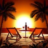 Praia no por do sol ilustração do vetor