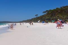 Praia ocupada na praia de Hyams foto de stock